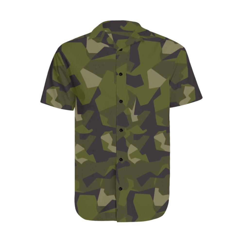 swedish M90 woodland camouflage Men's Short Sleeve Shirt with Lapel Collar