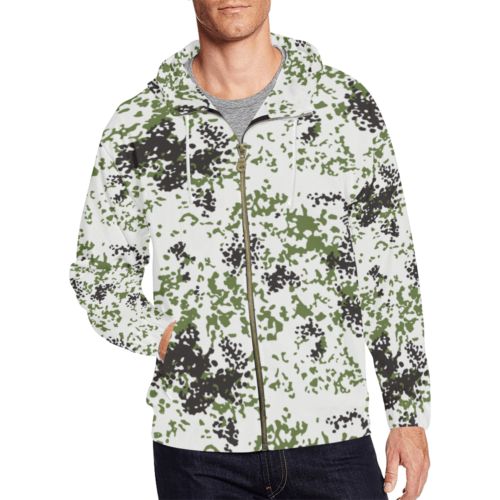 Snow Flecktarn Schneetarn Fleck camouflage Full Zip Hoodie for Men