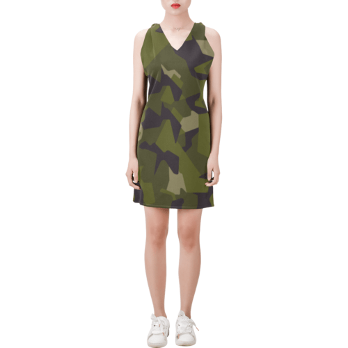 Swedish M90 woodland camouflage Sleeveless V Neck Dress