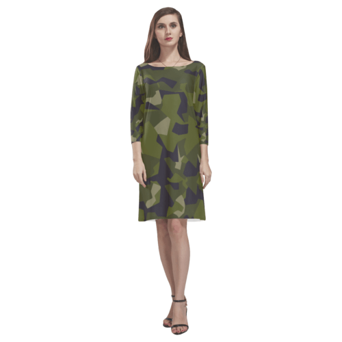 Swedish M90 woodland camouflage Rhea Loose Round Neck Dress