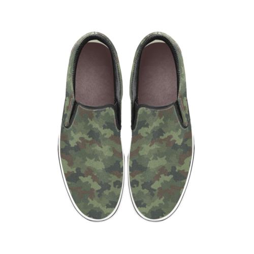 Yugoslav M89 Hrastov List camouflage Men's Classic Slip-On Sneakers .