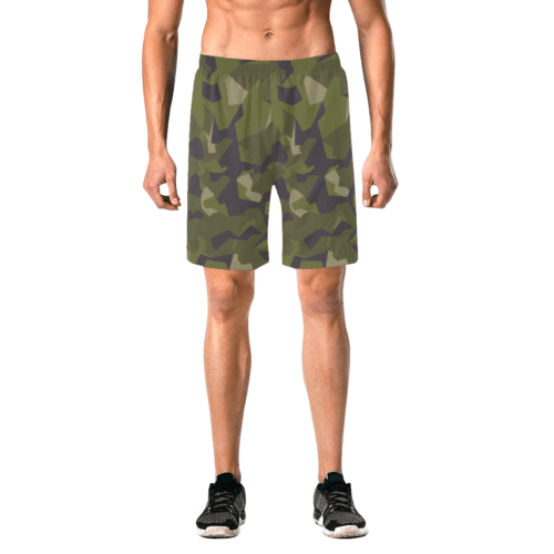Swedish M90 woodland camouflage Men's Elastic Beach Shorts
