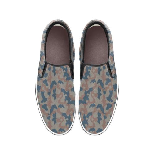 Bulgarian 1951 splinter Camouflage Men's Classic Slip-On Sneakers .