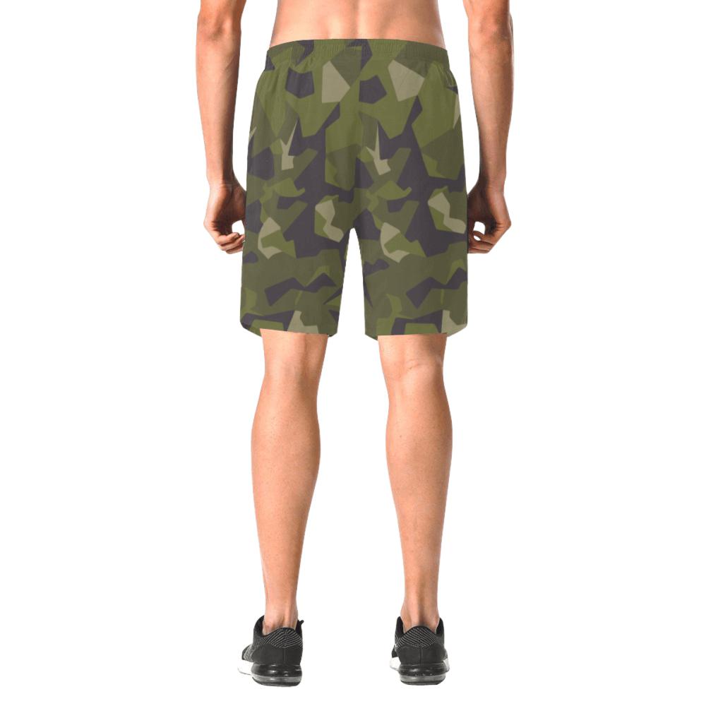 Swedish M90 woodland camouflage Men's Elastic Beach Shorts
