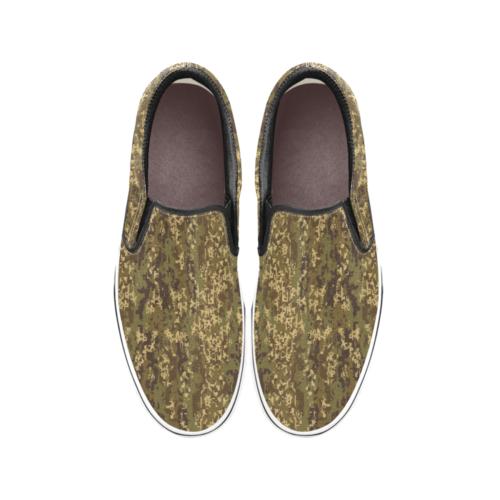 Austrian Jagdkommando pixeltarnung Temperate camouflage Men's Classic Slip-On Sneakers .