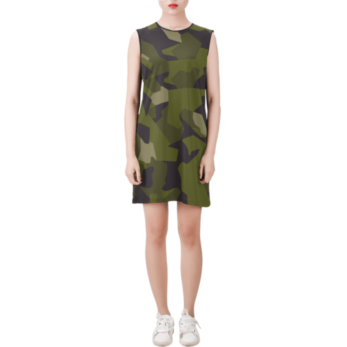 Swedish M90 woodland camouflage Sleeveless Round Neck Shift Dress