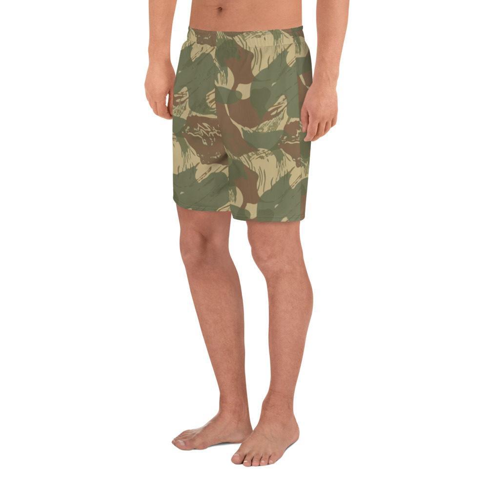 Rhodesian Brushstroke Camouflage Men's Athletic Long Shorts