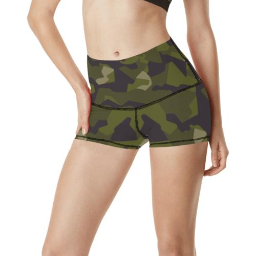 Swedish M90 woodland camouflage Women's Yoga Shorts