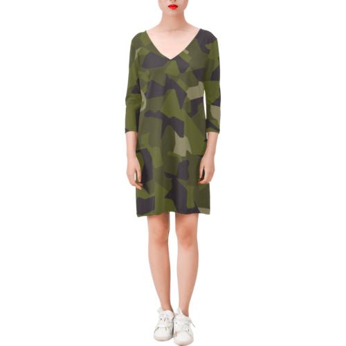 Swedish M90 woodland camouflage Deep V Three-Quarter Sleeve Dress