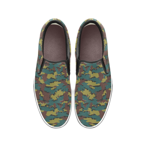 Belgian Jigsaw camouflage Men's Classic Slip-On Sneakers .