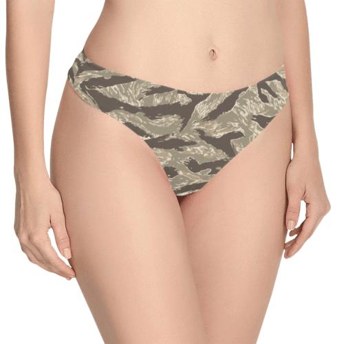 US desert Tiger stripes camouflage Women's Thongs