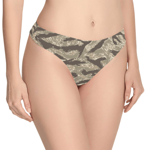 US desert Tiger stripes camouflage Women's Thongs