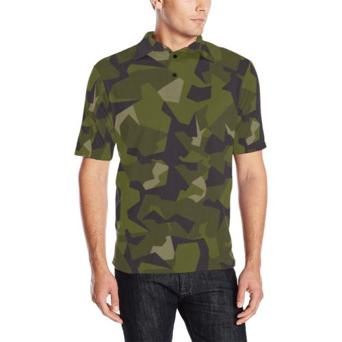swedish M90 woodland camouflage Men's Polo Shirt