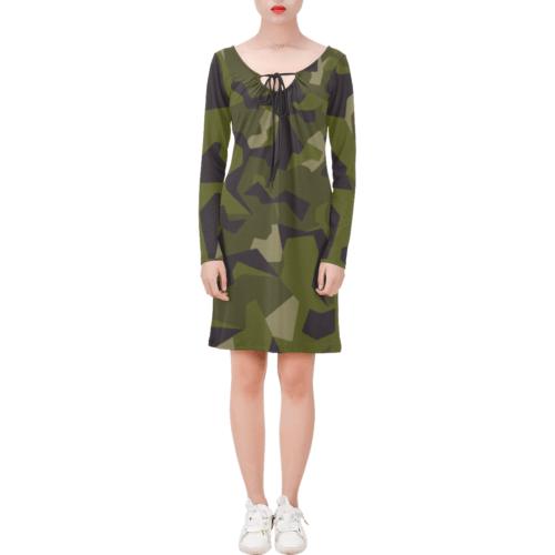 Swedish M90 woodland camouflage Long Sleeve String Tie Dress