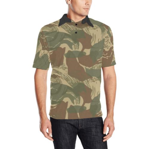 rhodesian brushstroke camouflage Men'sPolo Shirt
