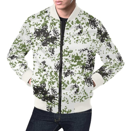 Snow Flecktarn Schneetarn Fleck camouflage white collar Bomber Jacket for Men