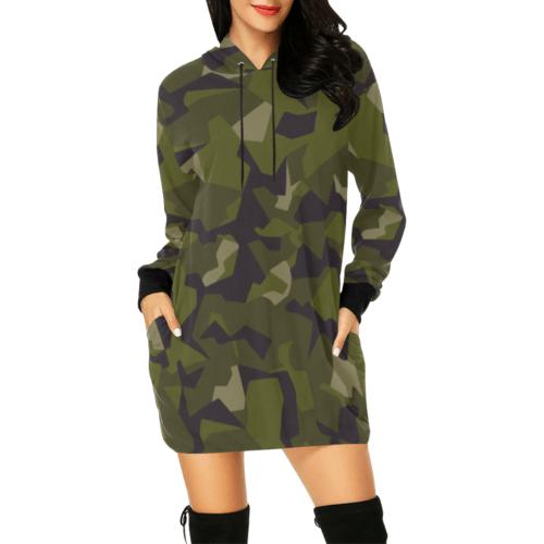 Swedish M90 woodland camouflage All Over Print Hoodie Mini Dress