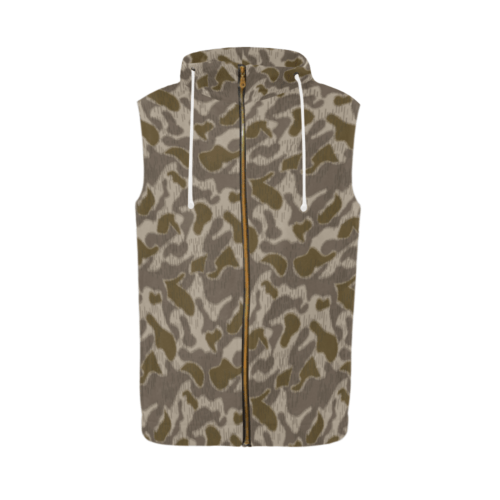 Austrian Sumpfmuster late steintarn camouflage Sleeveless Zip Up Hoodie for Men