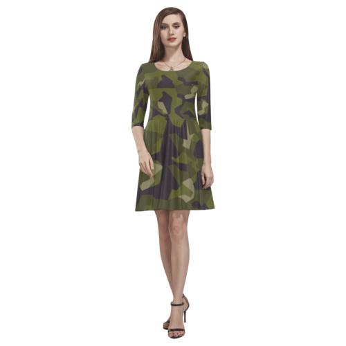 Swedish M90 woodland camouflage Tethys Half-Sleeve Skater Dress