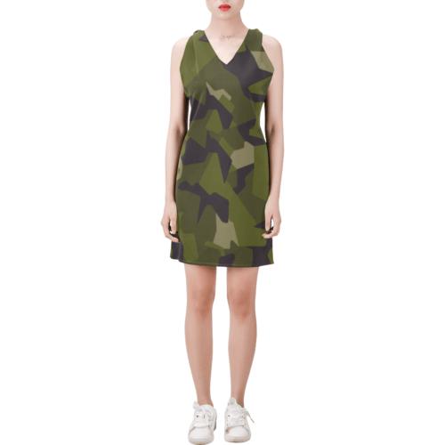 Swedish M90 woodland camouflage Sleeveless V Neck Dress