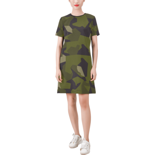 Swedish M90 woodland camouflage Short-Sleeve Round Neck A-Line Dress