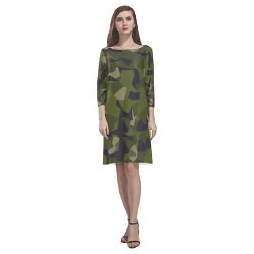 Swedish M90 woodland camouflage Rhea Loose Round Neck Dress