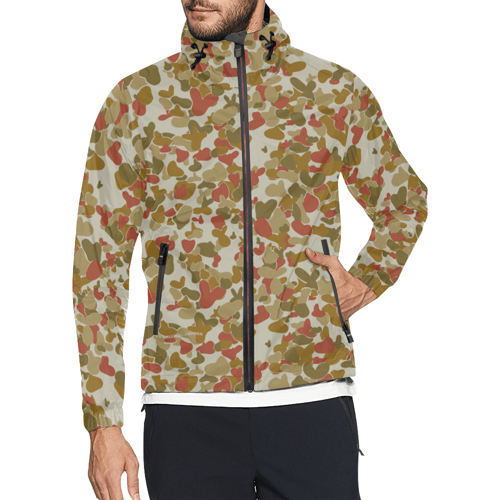 red auscam opfor musoria  camouflage Windbreaker for Men