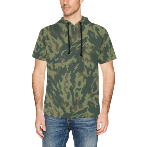 Russian VSR 3TsV Mountain Dubok Camouflage Short Sleeve Hoodie for Men