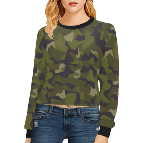 Swedish M90 woodland camouflage Crop Pullover Sweatshirts for Women