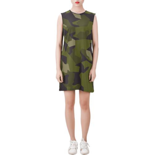 Swedish M90 woodland camouflage Sleeveless Round Neck Shift Dress