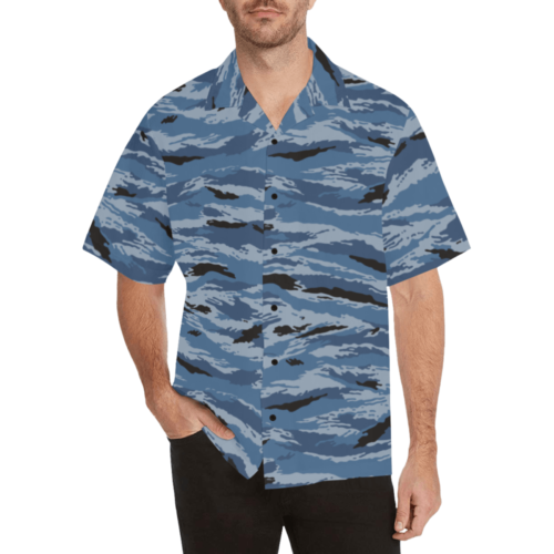 kamush police camouflage Relaxed Short Sleeve Shirt with Lapel Collar