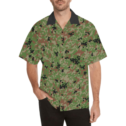 Japanese 1991 jietai camouflage Relaxed Short Sleeve Shirt with Lapel Collar