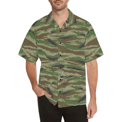 kamush lowland camouflage Relaxed Short Sleeve Shirt with Lapel Collar