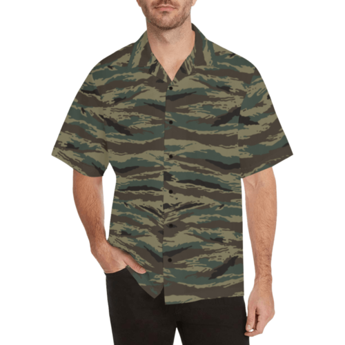 Kamush Tigr camouflage Relaxed Short Sleeve Shirt with Lapel Collar