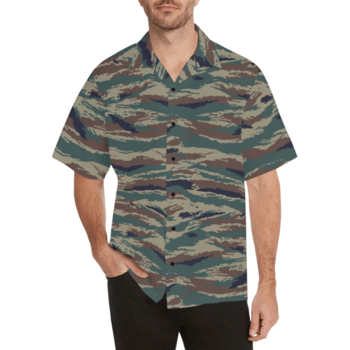 Kamush woodland camouflage Relaxed Short Sleeve Shirt with Lapel Collar