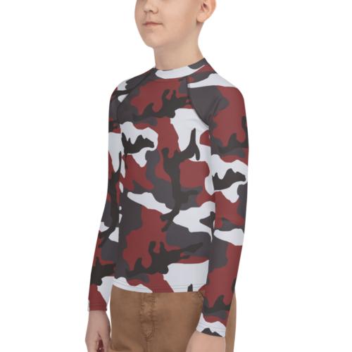 Red ERDL fantasy Camouflage Youth Rash Guard