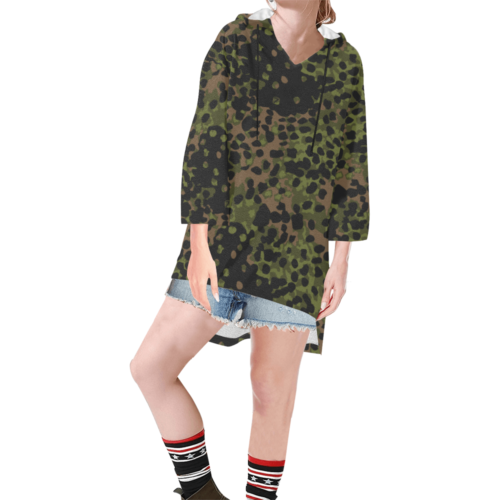 platanenmuster summer camouflage Step Hem Tunic Hoodie for Women