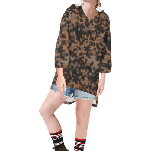 rauchtarn autumn camouflage Step Hem Tunic Hoodie for Women