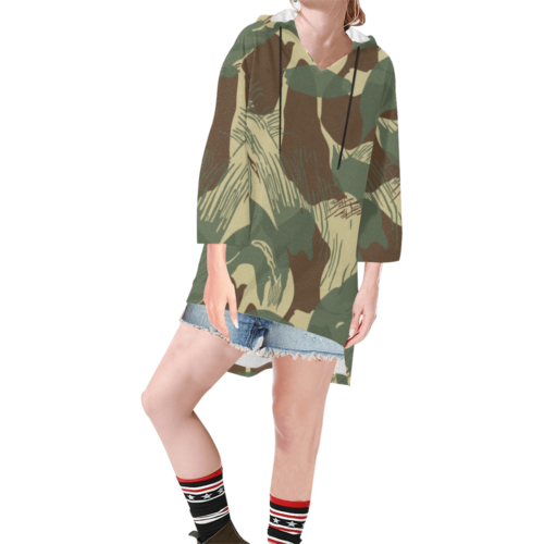 rhodesian brushstroke camouflage Step Hem Tunic Hoodie for Women