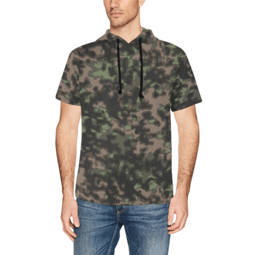 WWII Rauchtarn Spring Camouflage Short Sleeve Hoodie for Men