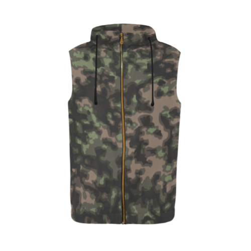 WWII Rauchtarn Spring Camouflage Sleeveless Zip Up Hoodie for Men
