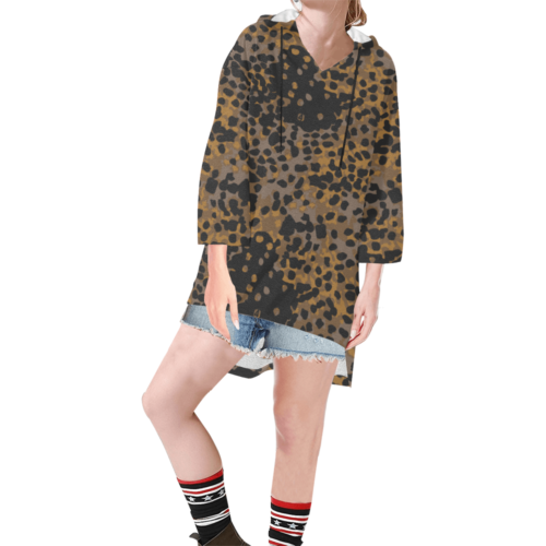 Platanenmuster fall Camouflage Step Hem Tunic Hoodie for Women