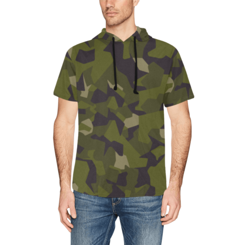 Swedish M90 woodland camouflage Short Sleeve Hoodie for Men