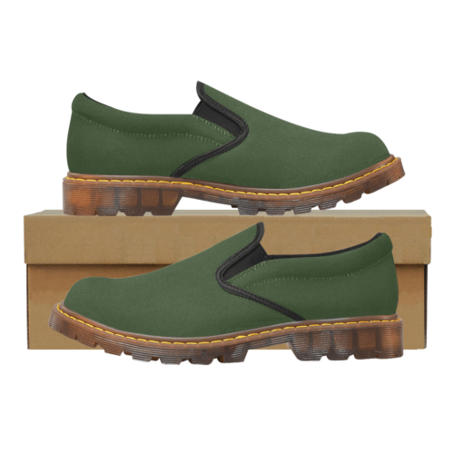 Plain Army Green Martin Men's Slip-On Loafer