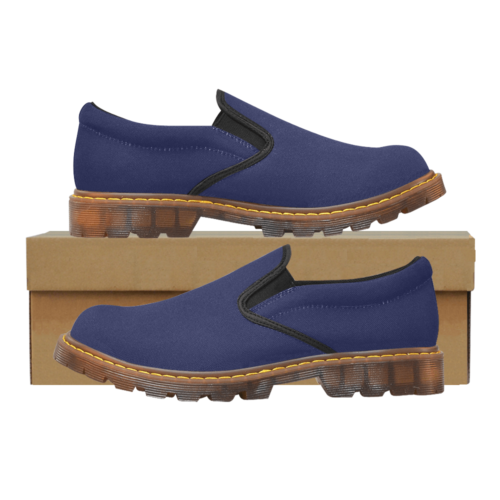 Plain Navy Blue Martin Men's Slip-On Loafer