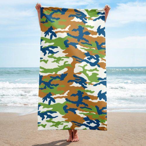 Blue Green Brown ERDL Beach Towel