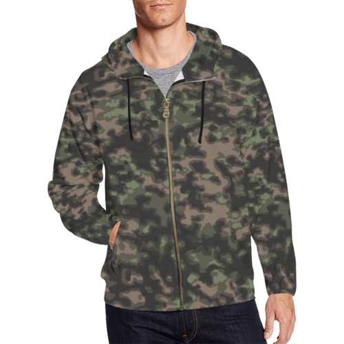 WWII Rauchtarn Spring Camouflage Full Zip Hoodie for Men