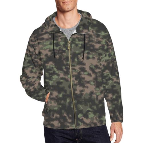 WWII Rauchtarn Spring Camouflage Full Zip Hoodie for Men