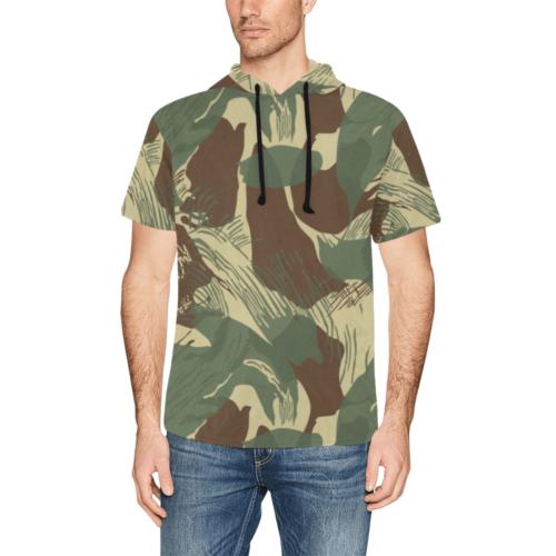 Rhodesian Bush Brushstroke Camouflage Short Sleeve Hoodie for Men