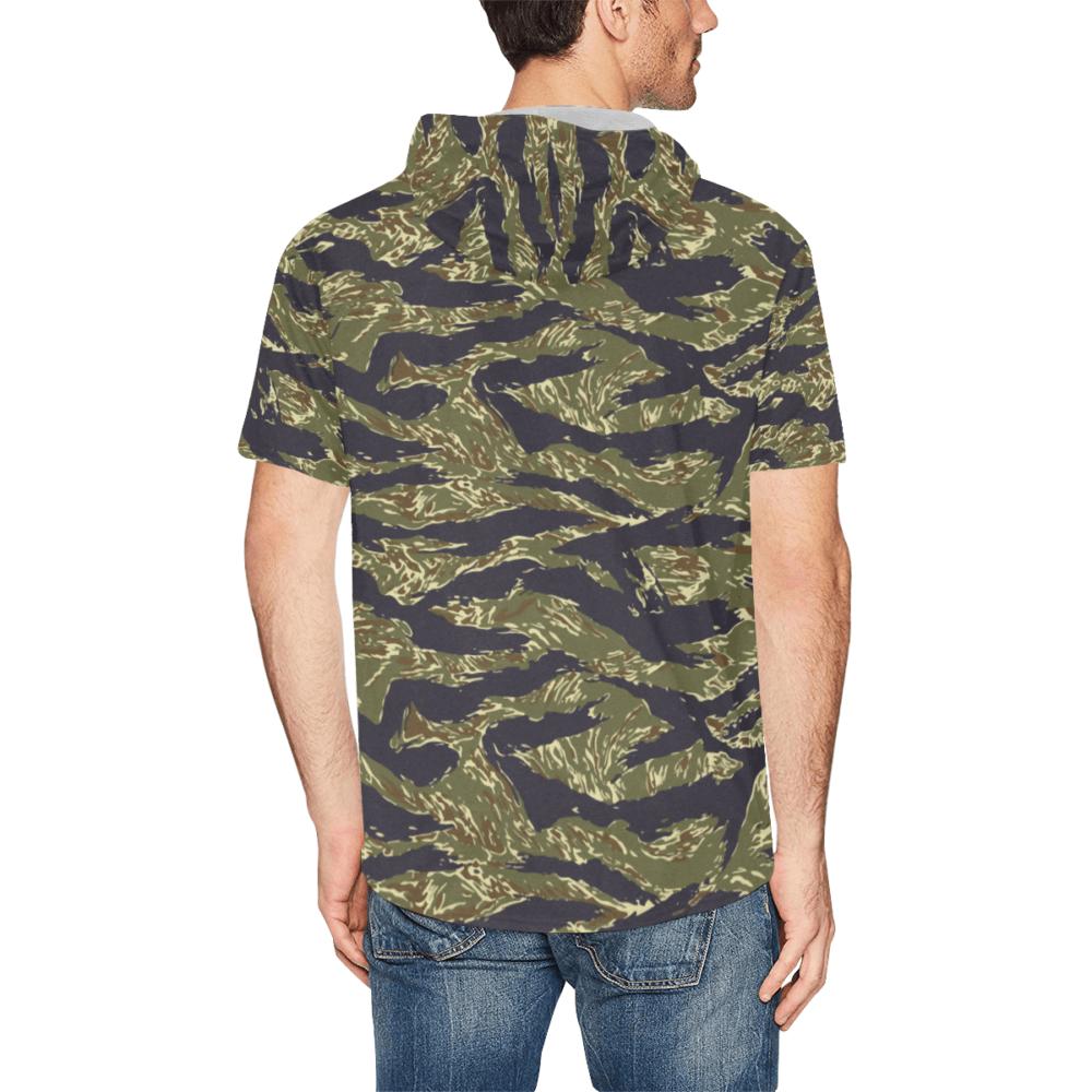 Tiger stripe woodland Short Sleeve Hoodie for Men